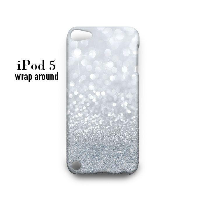 Grey Sparkle Glitter iPod Touch 5 Case Wrap Around