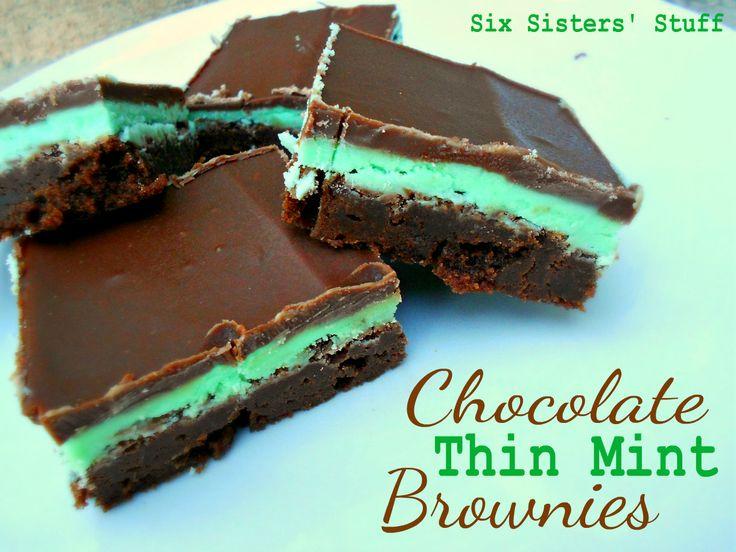 Chocolate Thin Mint Brownies: Recipe, Food, Mint Brownies, Thin Mints, Chocolate Mint, Sweet Tooth, Six Sisters Stuff, Dessert