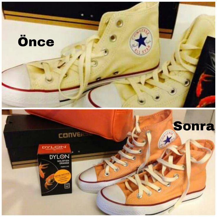 Bizden aldığı Dylon-Goldfısh orange  ile ayakkabılarında yaptığı değişimi bizimle paylaşan müşterimize teşekkür ederiz.