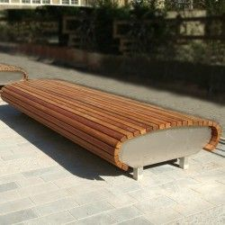 Satellite Seat, Woodscape, Bespoke, Hardwood, Seat, Bench, Curved, S Shape, Innovative, Hardwood, Timber, Street Furniture, Outdoor Furnitur...