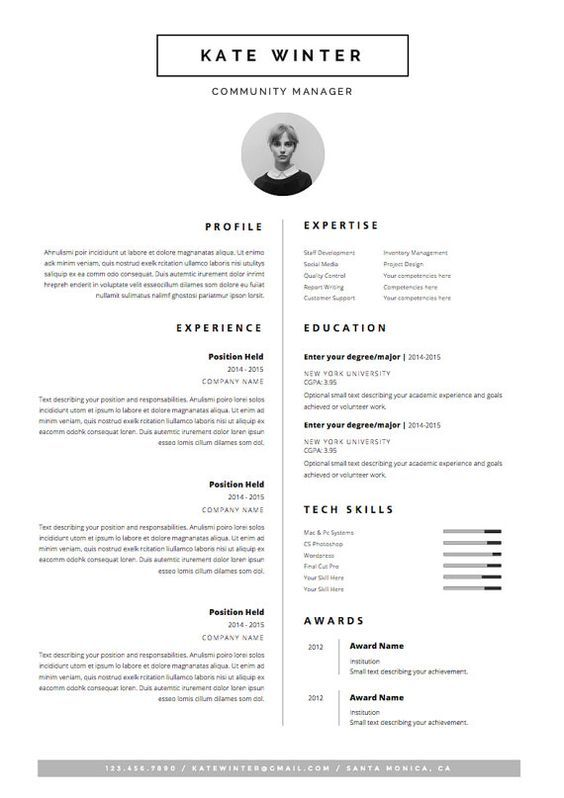 minimal resume template for word 1 2 page cv template icon set cover letter - Fashion Design Resume Template