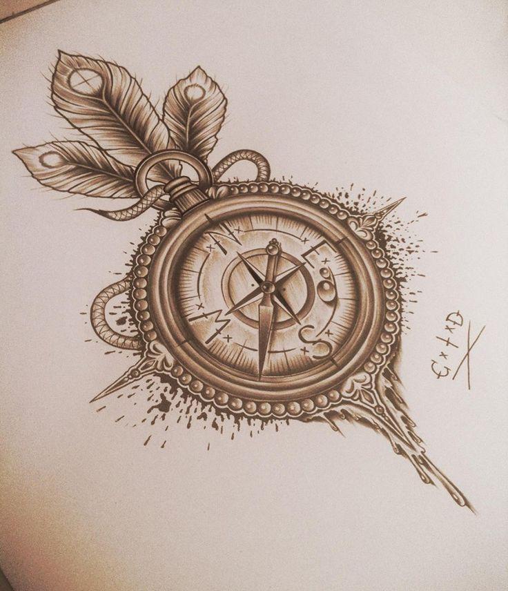 Compass tattoo design.