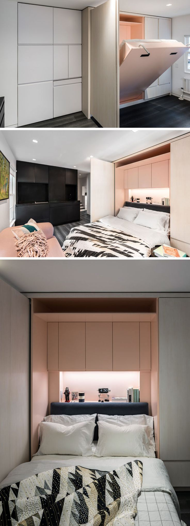This micro apartment has a wall of cabinets, and within the wooden section is a bed. The bed folds down to reveal a headboard and even more storage space, as well as hidden lighting.