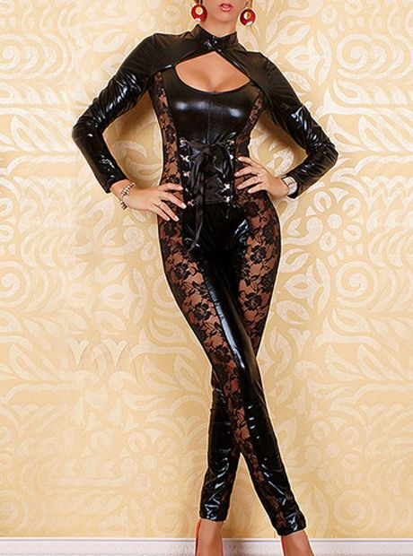 Long Sleeve Ankle Length Black PVC Jumpsuit Catwoman Cosplay