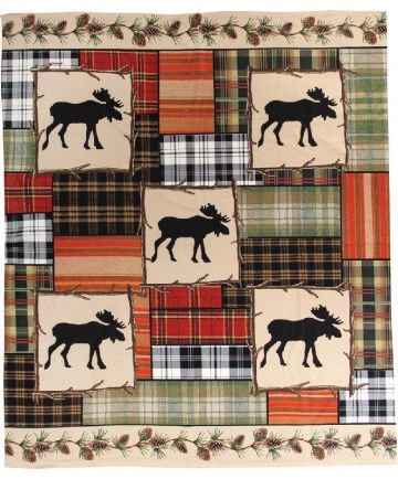Moose Patchwork Fleece Throw.