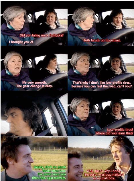 Hahahaha oh I love James' mum!  #TopGearBBC. Pinned by http://FlanaganMotors.com