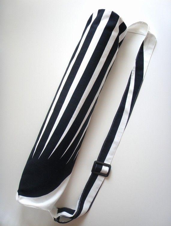Yoga Mat Bag White Black Stripes Handmade Yogamattentasche