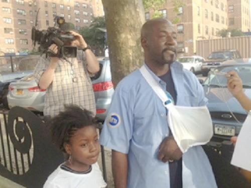 """I'm not a hero...a hero is a sandwich!"" was what Steve said when asked his opinion of being called a hero.  Steve St. Bernard, 52, stood below his Brooklyn, New York's neighbor's window when he discovered little Keyla McCree, 7, standing on top of her air conditioner three stories up from the ground below, according to New York Daily News.  The young girl appeared to dance around on top of the air conditioner until she lost her balance and was caught by Bernard."