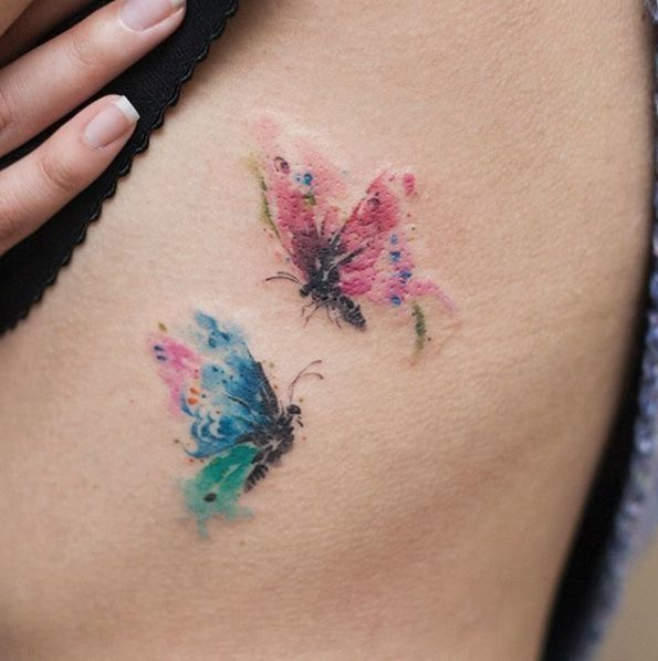 Watercolor Butterflies By River Watercolor Butterfly Tattoo Tattoos For Daughters Small Tattoos