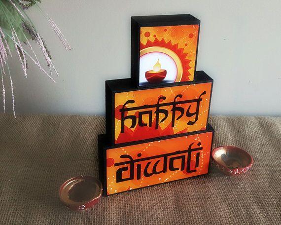 Happy Diwali Decor - Festival of Lights Wood Blocks Home Decoration - Hindu Festival - Diwali Gift for Kids - Indian Celebration - Deepavali