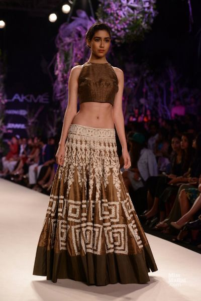 Brown lengha. Manish Malhotra's Show at LFW S/R 2014