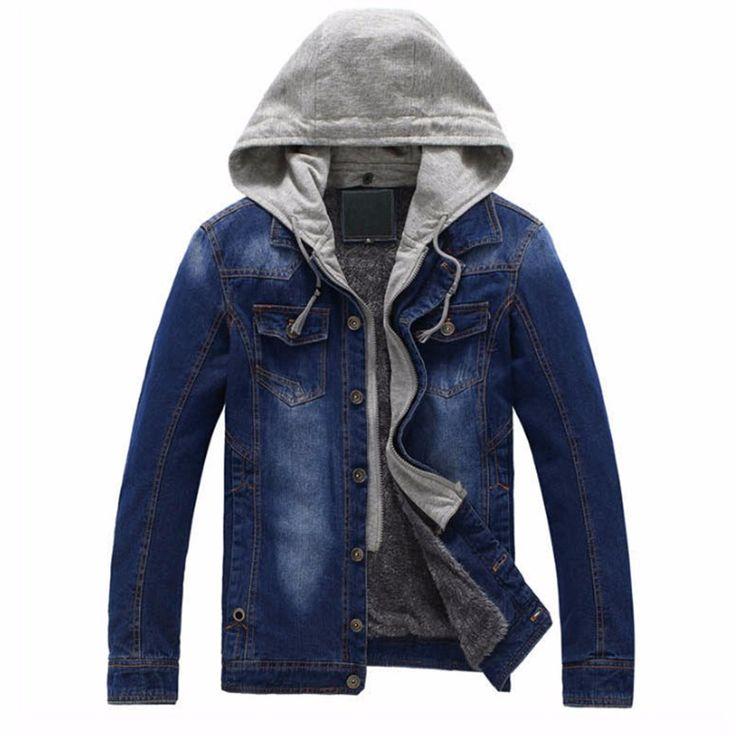 Fleece Lined Winter Thick Warm Washed Vintage Male Denim Jacket Men Hooded Jeans Coat Black Grey Blue