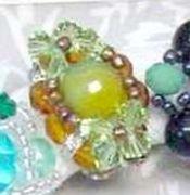 Δαχτυλίδια πλεκτά με χάντρες & πέρλες MIX Colours Green ling & K