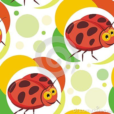 Seamless ladybug insects pattern with colorful and bright