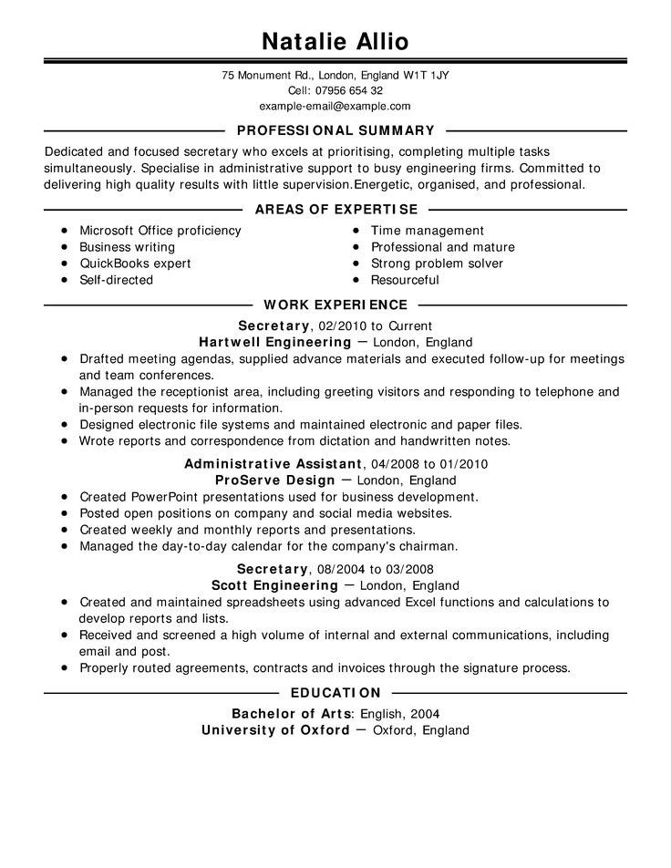 10 best Best Executive Assistant Resume Templates \ Samples images - administrative professional resume