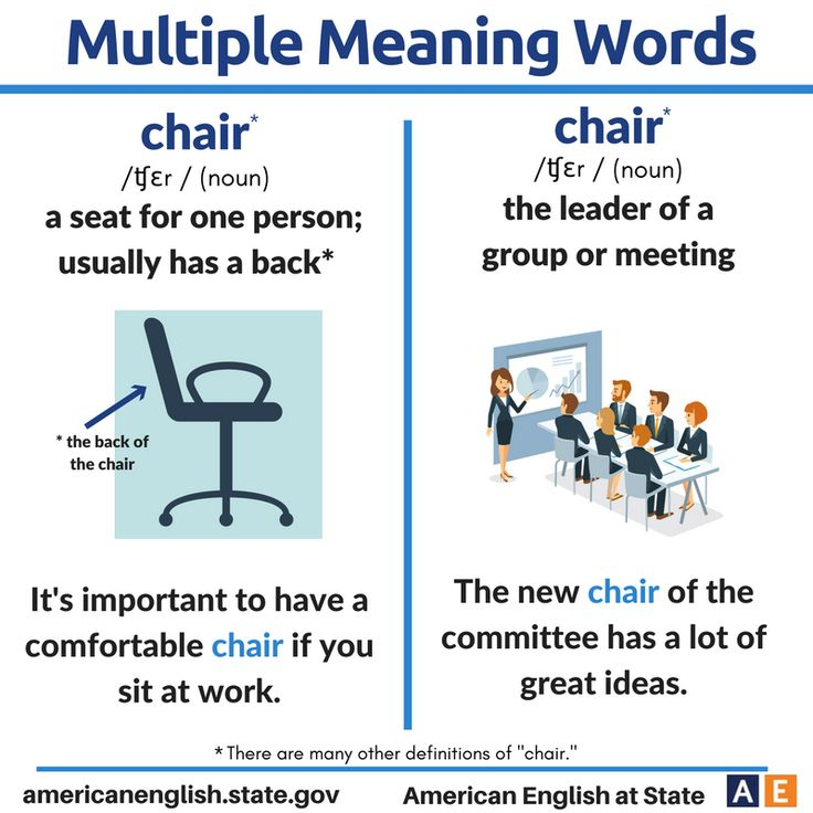 Multiple Meaning Words: Chair