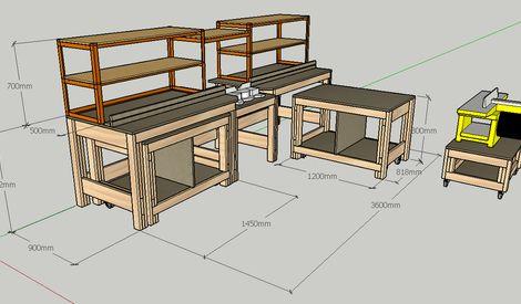 Librement inspiré du Tommy's Miter Saw Station with Rolling Workbenches, j'ai redessiné ses plans pour les adapter à la disposition de mon atelier. Le tout comporte 4 éléments distincts : Une station...