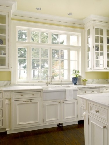 fascinating yellow kitchen white cabinets | large light filled kitchen with apron front sink, white ...