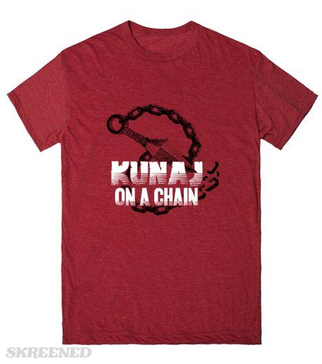 "Kunai On A Chain | This tee design is a mash-up of Django Unchained movie poster style and the iconic Kunaj (or Kunai) which is a harpoon-like weapon thrown by Mortal Kombat ninja Scorpion: ""Get over here!"" #Skreened"