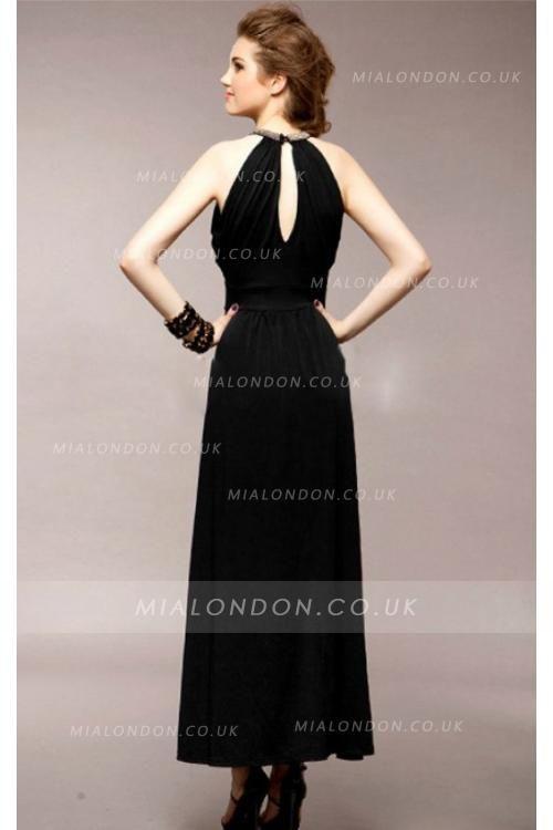 Natural Chiffon A-line Zipper Ankle-length Bridesmaid Dresses