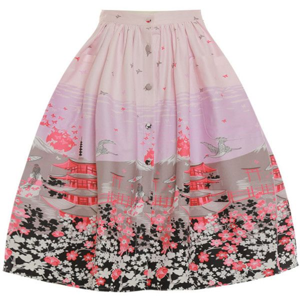 Adalene' Pink Floral Japan Print Swing Skirt Skirts ($34) ❤ liked on Polyvore featuring skirts, floral printed skirt, floral print skirt, cotton skirts, floral skirt and flippy skirt