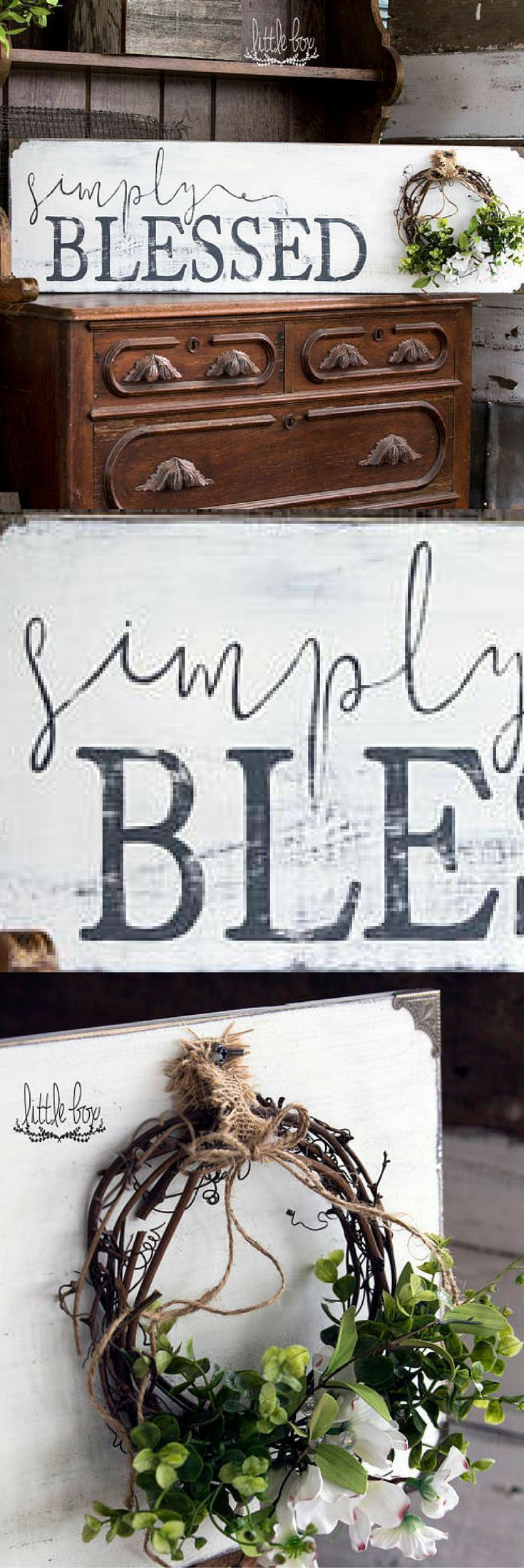 Farmhouse Decor, Simply Blessed Sign, Farmhouse Sign, Farmhouse Wood Sign, Rustic Wood Signs, Shiplap Sign #ad #affiliatelink
