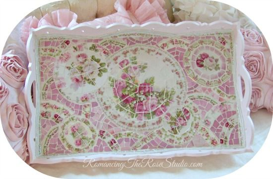 Romancing The Rose Studio ,teacup, shabby mosaic, vintage china, tray, serving, pink, roses, cottage, chic, dining, tea party, table, Romancing The Rose Studio, Romantic Country Magazine,Mosaic , Shabby, Chic, Pink Roses,Table     www.RomancingTheR... ©Website Design by: OneSpringStreet.NET 2011