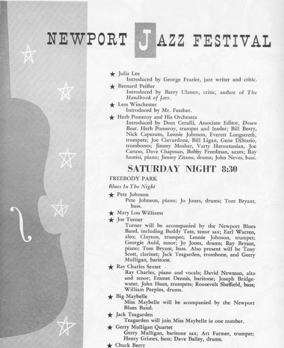Newport Jazz Festival   Program For  And  July  Vintage