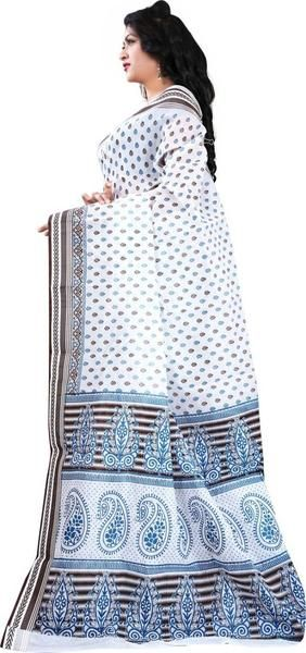 LadyIndia.com # Silk Saree, Gorgeous White Cotton Saree For Women -Sari, Printed Sarees, Casual Saris, Silk Saree, https://ladyindia.com/collections/ethnic-wear/products/gorgeous-white-cotton-saree-for-women-sari
