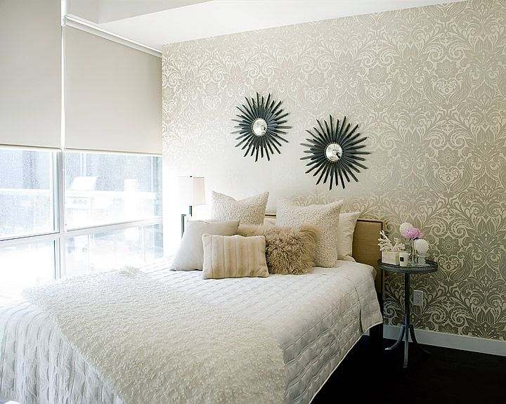 Jessica Kelly Design: Beautiful urban bedroom with gold damask wallpaper  and dark hardwood floors.
