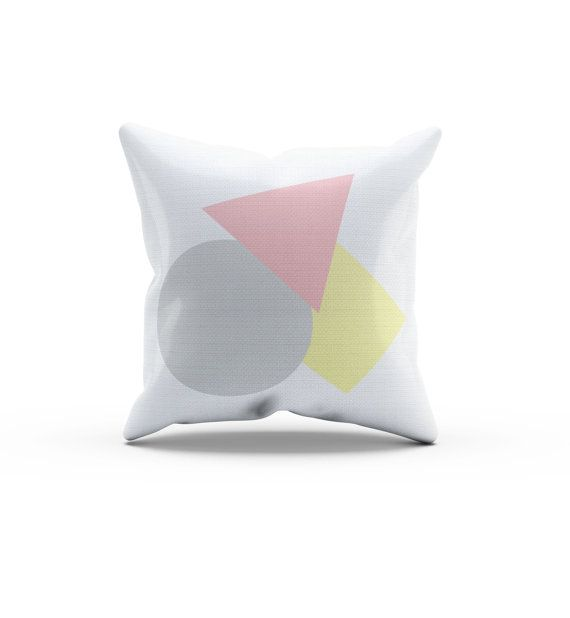 Pink Yellow and Gray Abstract Throw Pillow by SweetPeaPetiteShop