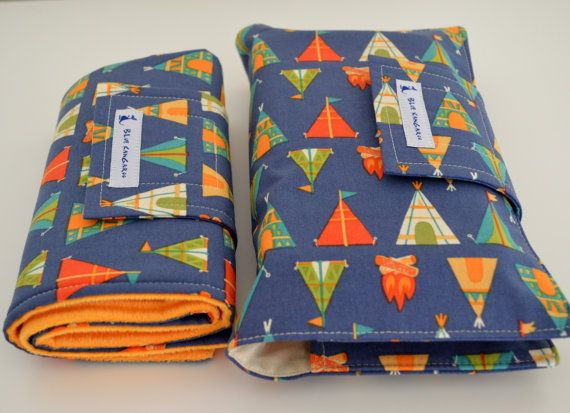 Change mat and nappy wallet set by BlueKangarooHandmade on Etsy
