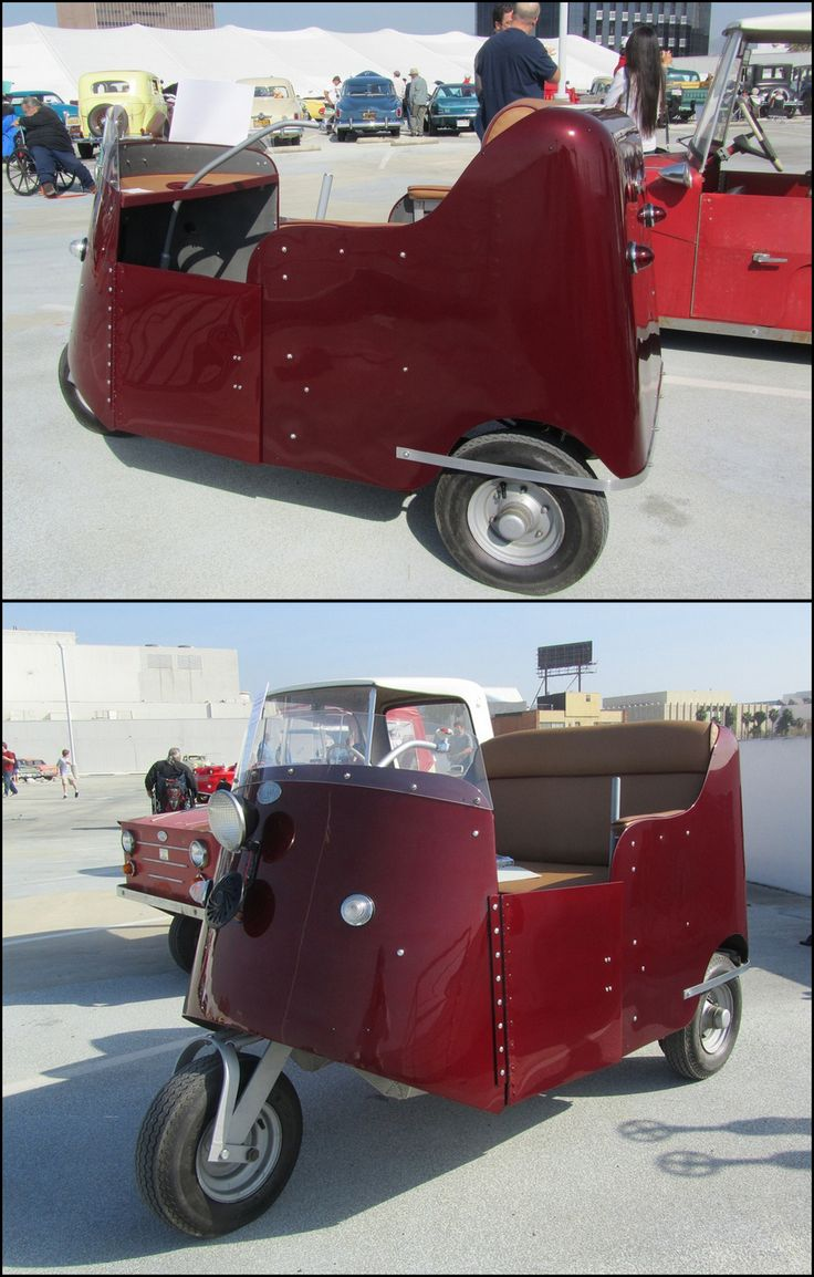 1955 Autoette. The Autoette was a microcar created and manufactured from 1948 to 1970's by Royce Seevers, owner of the Autoette Electric Car Company Inc. of Long Beach, California. The two-seat, three-wheeled microcar was electric powered by specially made batteries from Trojan battery Co., and motive power provided by a converted 24-volt Dodge 1½ hp. electric starter motor and later a proprietary motor built for Autoette.
