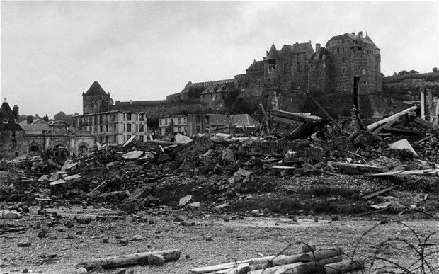 A casino on the beach destroyed during the Dieppe Raid on August 19 1942