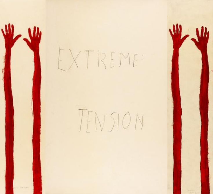 Louise Bourgeois, Extreme Tension, 2007, set of 11 panels, graphite, pencil on paper and prints highlighted by watercolor