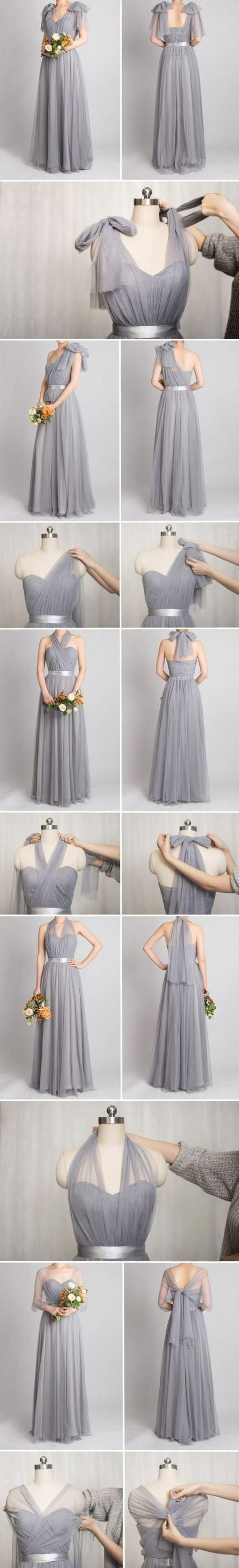 Tulle Convertible Bridesmaid Dress, Multi-wear Bridesmaid Dress,Tulle Wedding Guest Dress,Silver Tulle Party Dress