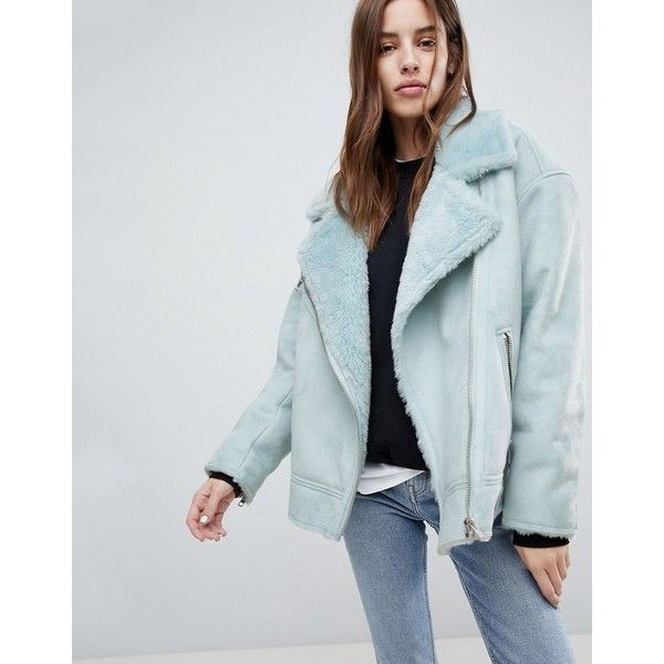 Weekday Longline Aviator Jacket with Fleece Collar ($174) ❤ liked on Polyvore featuring outerwear, jackets, blue, blue zipper jacket, zip pocket jacket, pocket jacket, fleece-lined jackets and blue jackets