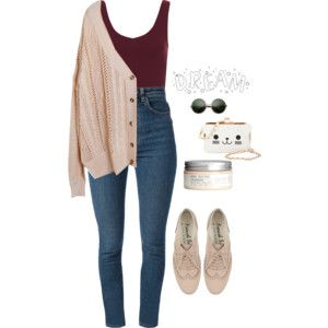 Polyvore teen fashion outfit - comfy cardigan, high waisted skinny jeans. great for a casual day, rainy day, or school day. Follow for related looks!