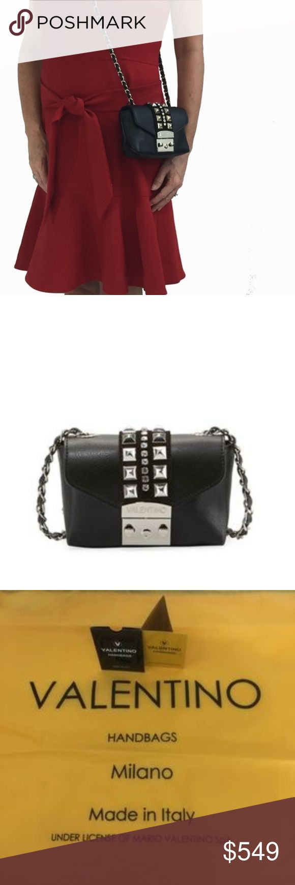 """FinalSALE Valentino Rockstud Leather Crossbody Bag Mario Valentino Palmellato grained leather and studs crossbody bag  SALE PRICE IS FIRM!  GORGEOUS, SUPPLE LEATHER, STUDS AND RHINESTONES  PERFECT FOR VALENTINE'S DAY!  Spike studs and rhinestone embellished trim Woven chain shoulder strap, 22.5"""" drop Flap top with logo-engraved slide-lock closure Interior, fabric lining Made in Italy  Dust bag, Valentino tag, Certificato Di Qualita Booklet  Buy in confidence. I am a perfect 5 STAR SELLER…"""