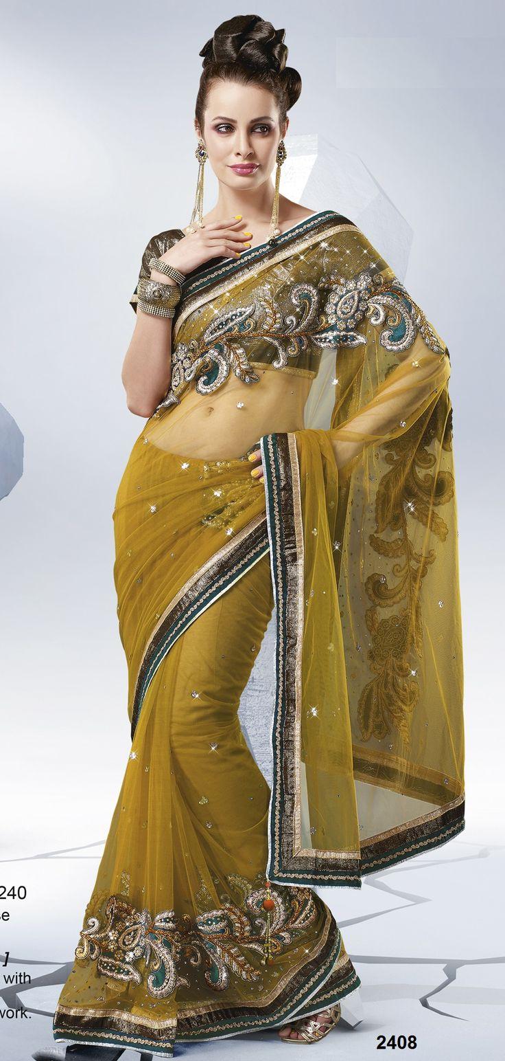 Khazanakart Heavy Worked Saree Brocade and Net Saree in Mustard Color