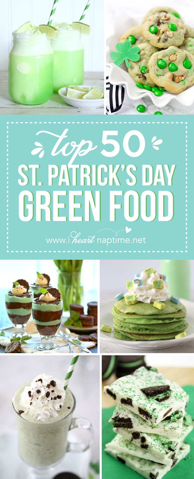 Top 50 St. Patrick's Day Green Food - have fun with St. Patrick's Day and surprise your family and friends with these fun, festive green recipes!