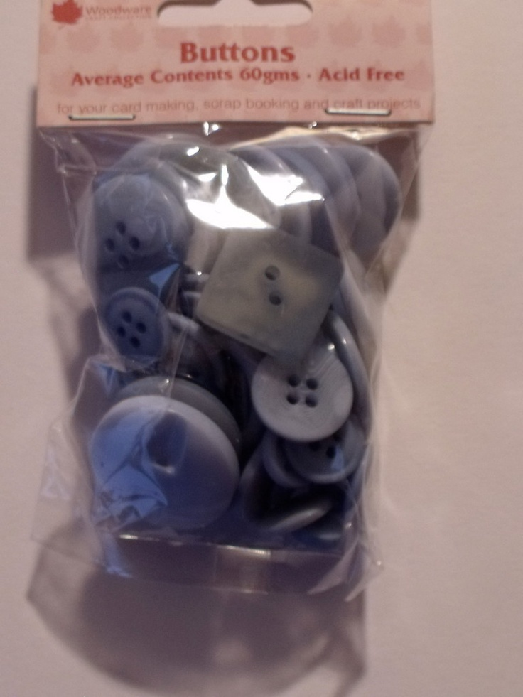 WOODWARE - ASSORTED BUTTONS BABY BLUE (BT022)      Assorted sizes, shades and shapes of buttons for your card making, scrap booking and all craft projects. Approx 60gms.