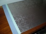 A beautiful desk protector created with our Art Nouveau backsplash!