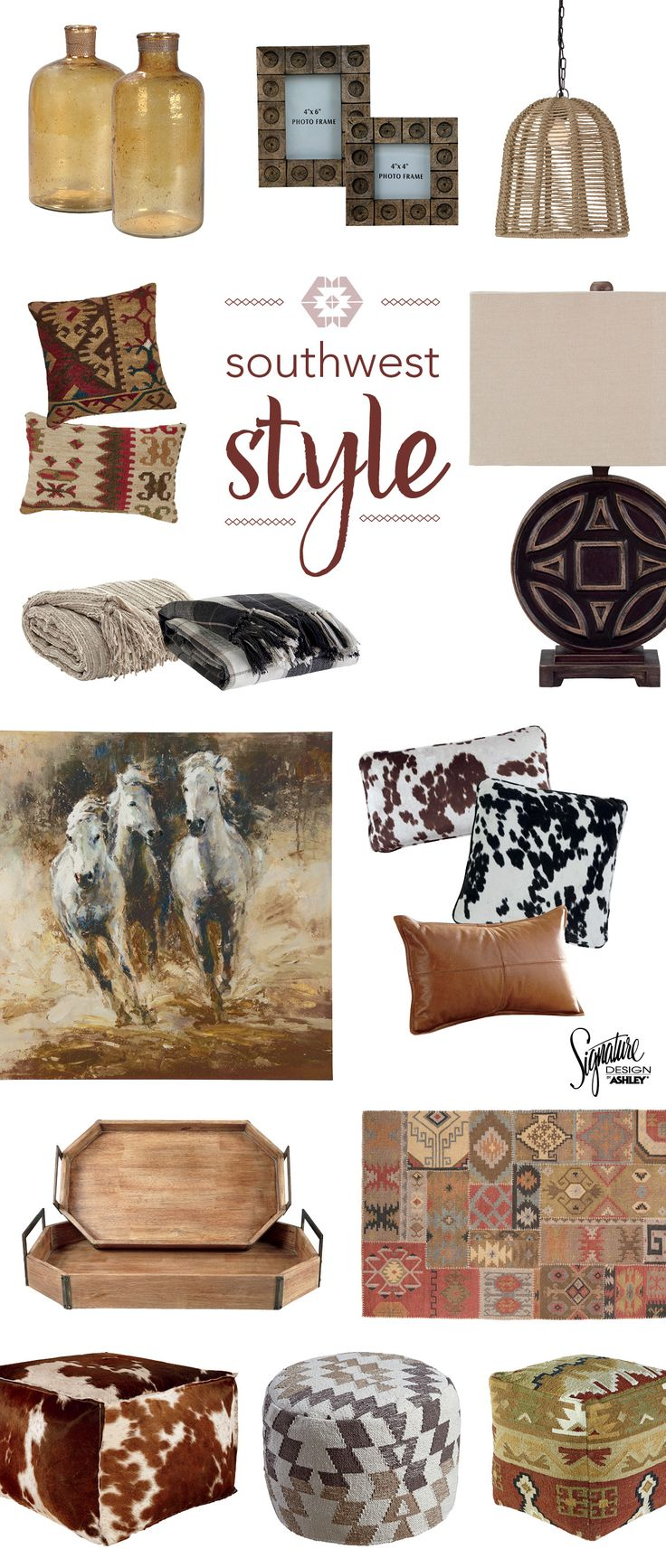 Southwest Home Accessories – Think reds, browns and tans in a variety of texture…