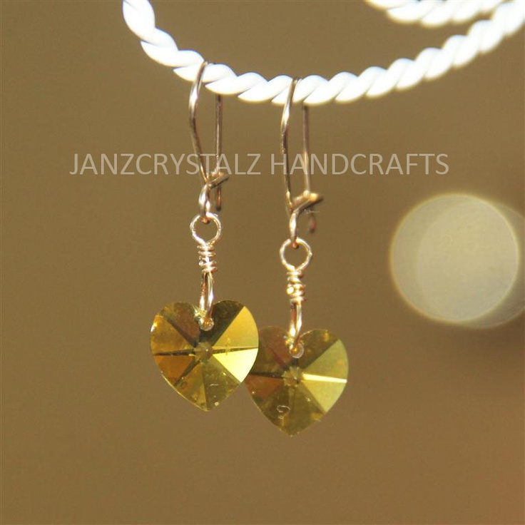 JanzCrystalz Handcrafts: Swarovski Girly Heart Earrings - Citrine Heart
