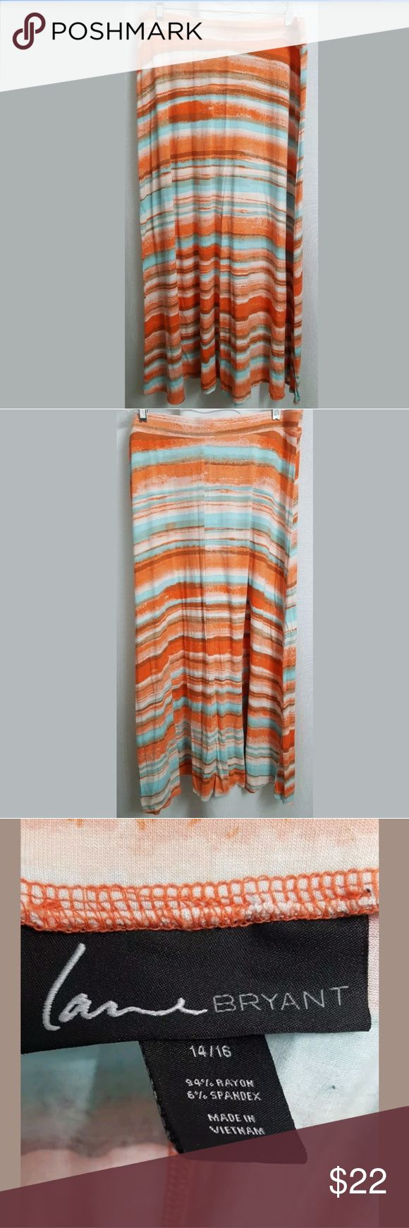 """Lane Bryant Sunset Striped Maxi Skirt sz 14-16 This is a Lane Bryant Sunset Striped Maxi Skirt sz 14-16. There are no stains, or holes.  Measurements: (When laid flat)  Waist: 35"""" Length: 40.5""""  Product material:   94% Rayon 6% Spandex  Inventory #: Lane Bryant Skirts Maxi"""