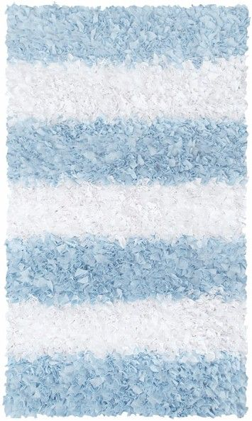 Rug Market Kids Shag 02276 Stripe Shag Blue/White Area Rug   The Rug Market
