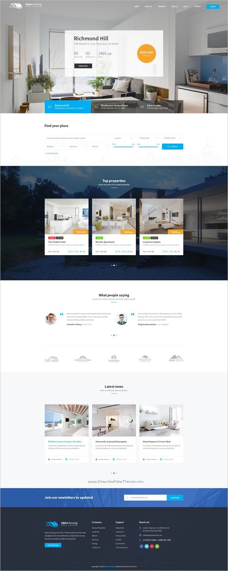 Alpha Housing is a clean and unique design #PSD #template for #housing, real estate agencies websites with 4 homepage layouts and 24 organized PSD files download now➩ https://themeforest.net/item/alpha-housing-real-estate-psd-template/19158314?ref=Datasata