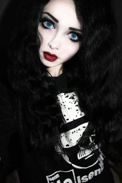 #black #long #hair #black #outfit #big #blue #eyes #red #lips