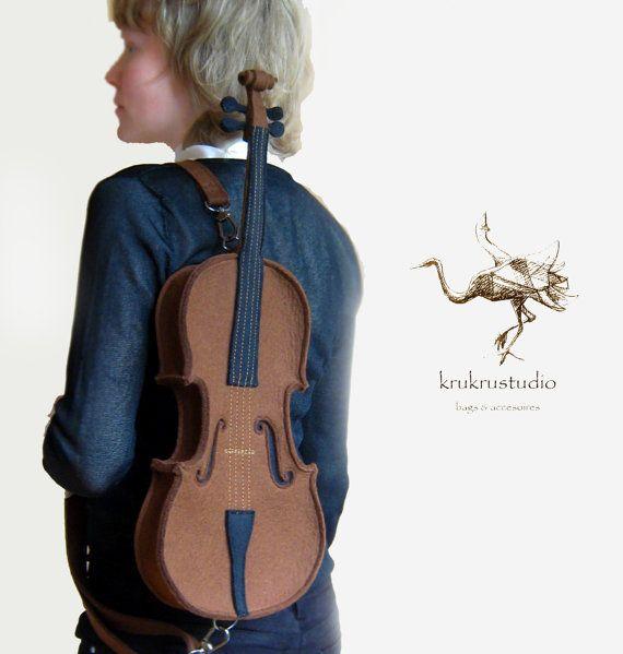 Violin Bag From Brown Felt by krukrustudio on Etsy, $160.00